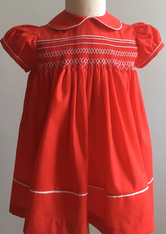 Vintage 70's/80's Girl's Handmade Smocked Dress