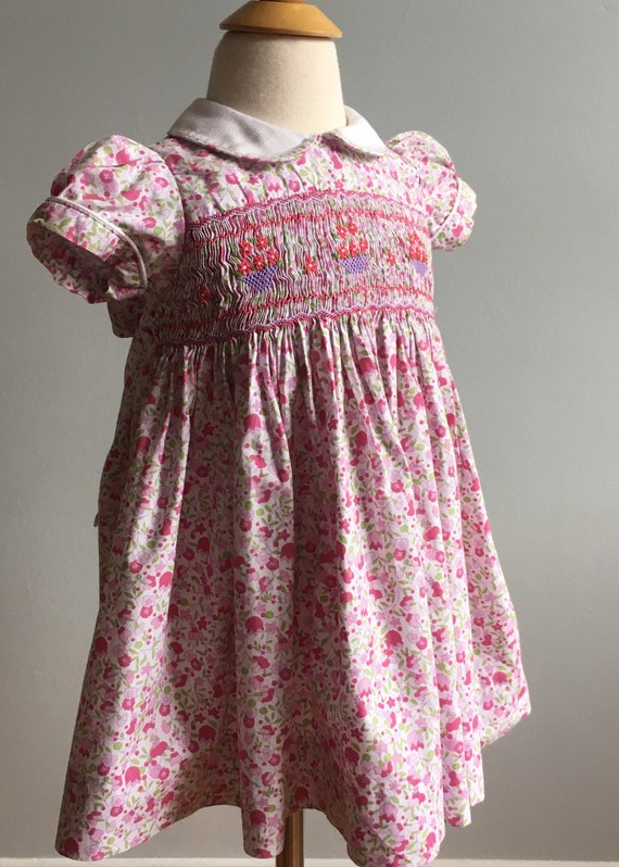 Vintage Girl's Classic Smocked Dress from France