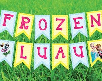 Frozen Luau Banner Party Printable