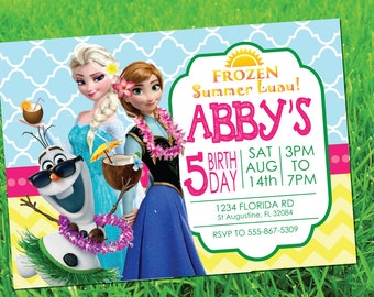 CUSTOM INVITATION Frozen Summer Luau Party Printables