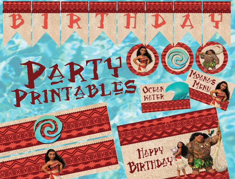 Moana Inspired Luau Party Printables image 0