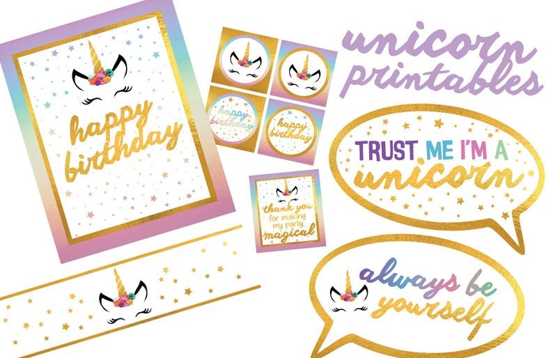 Unicorn Party Printables in Pastels and Gold image 0
