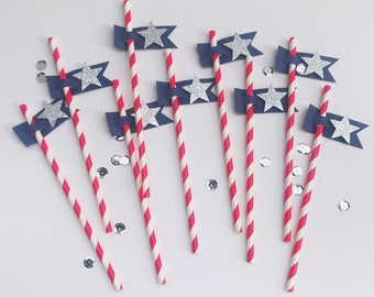 Fourth of July Paper Straws, Fourth of July Paper Supplies, Pennant Paper Straws, Patriotic Party Supplies, Star Straws, July 4th Party