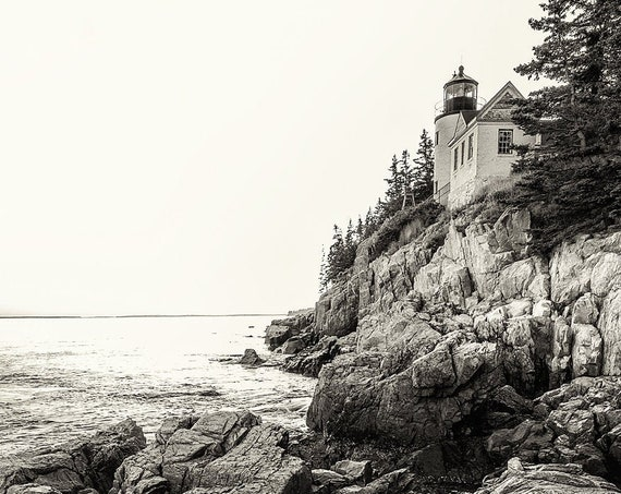 Bass Harbor Light Portrait BW