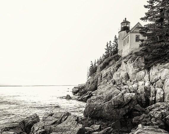 Bass Harbor Light Portrait BW