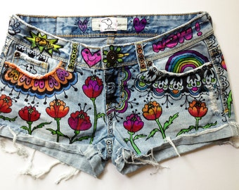 recycled denim, hand-painted shorts. FLOWER POWER. tattooed jeans. wearable art. by artfink.