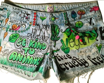 custom painted denim upcycled shorts for vegans personalized wearable art