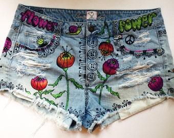 High waisted upcycled personalized denim shorts custom wearable art