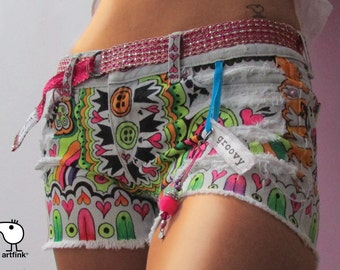 hand painted groovy upcycled denim shorts wearable art 60s vibe
