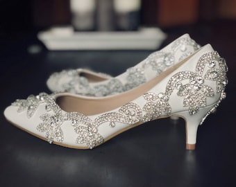 07e51f3112f Low heel frozen shoes. Crystal design wedding shoes. Pumps. Bridal shoes.