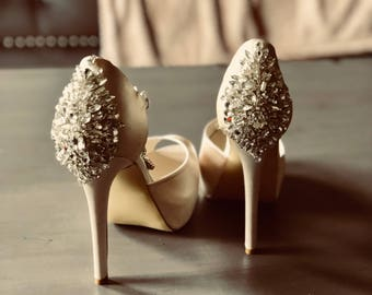 ad5163e56c42 Custom pair high heel peep toe bridal shoes -crystals shoes- wedding shoes