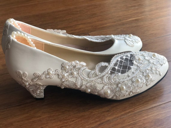 Pearl Bridal Shoes Lace Wedding Shoes Wedding Shoes Pumps Etsy