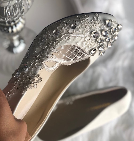 Bridal Shoes Wedding Shoes Crystals Shoes Low Heel Shoes Etsy