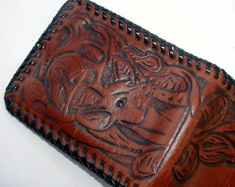 c2c60a70994a22 Vintage Tooled & Laced Cowhide Wallet 1950's Era Folk Art Handcrafted Brown  Leather Men's Bi-fold Woodlands Theme with Deer Head