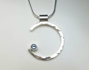 Montana Sapphire Sterling Silver Necklace, partial circle, journey of life, genuine sapphire, enso, zen