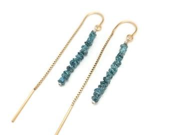Blue Diamond threader earring, Blue diamond, teal diamond, gold threader earring, rough diamond earring