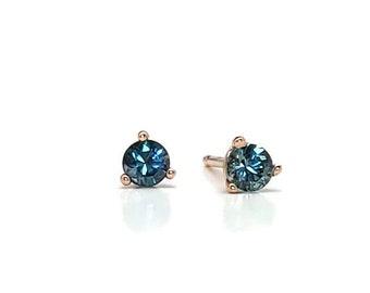 Teal Montana Sapphire Rose Gold earring, Montana Sapphire earrings, 14k solid Rose Gold and Montana Sapphire