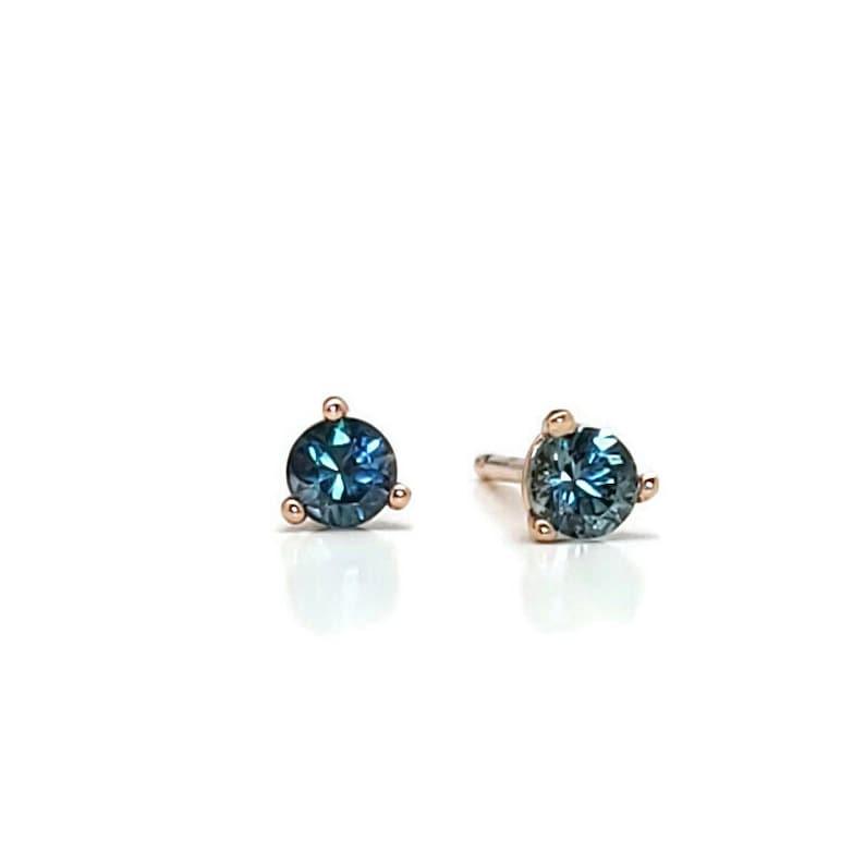 Teal Montana Sapphire Rose Gold earring Montana Sapphire image 0