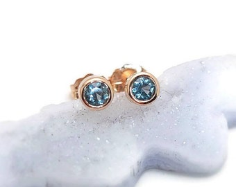 Montana Sapphire and Rose gold stud earring, 14k rose gold and sapphire stud, Montana Sapphire, sapphire atud