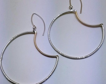 Sterling Silver and Gold Crescent Hoop Earrings, hand texturted, funky style hoops