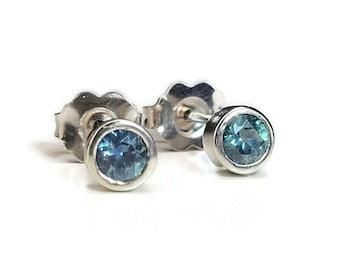 Montana Sapphire and white gold bezel studs, Montana sapphire stud earring, 3.5mm Montana Sapphire