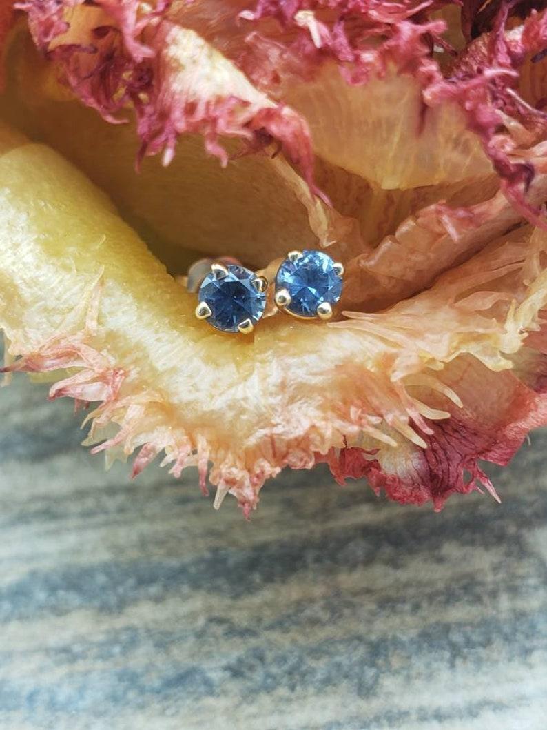 3mm Montana Sapphire 14k gold studs, prong set sapphires