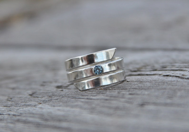 Montana  Sapphire and Silver Spiral Ring image 0