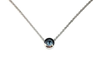 3.5mm Montana Sapphire Bezel Pendant, Sapphire bezel pendant, Montana Sapphire Necklace, Bridal necklace, solitaire pendant