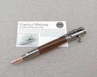 Ink Pen Teak Retirement Gift Historical Handmade Wood Pen Navy Deck Click Pen USS Des Moines Ballpoint Pen Gunmetal