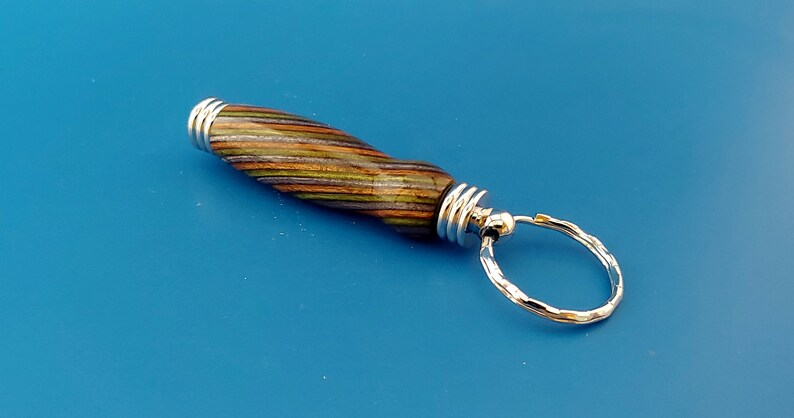 Colored wood toothpick holder Handcrafted Keychain secret compartment