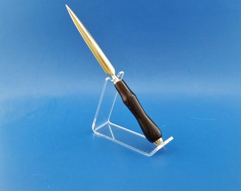 Letter Opener, Handcrafted, wood, Ziricote, gold finish