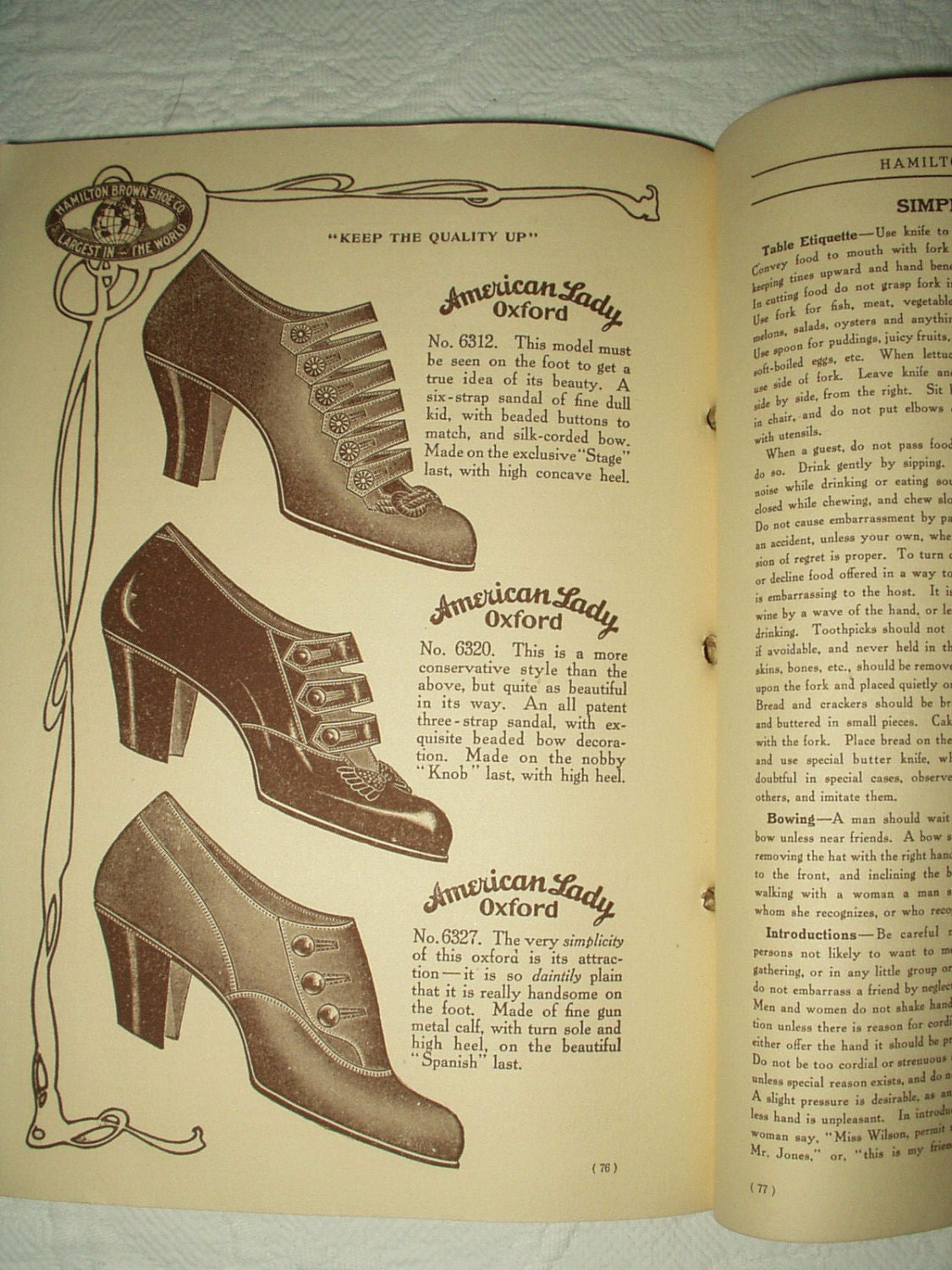 Antique Vintage 1910 Hamilton Brown Shoe Fashion Catalog Household  A Book Men Women Children A  Great Historial Reference 6a51b7