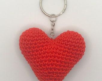 Crochet Heart Keychain, Keyring, Amigurumi, Gift