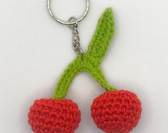 Crochet Cherry Keychain, keyring, amigurumi, gift