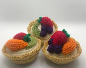Crochet set of 3 fruit tarts, play food, amigurumi, gift