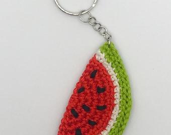 Crochet Watermelon Keychain, Keyring, Amigurumi, Gift