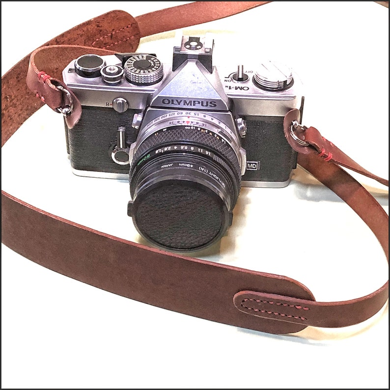 HANDMADE English leather camera neck strap Mid brown colour.