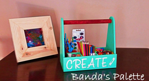 Personalized Crayon Tote Crayon Caddy Paint Holder Draw Etsy