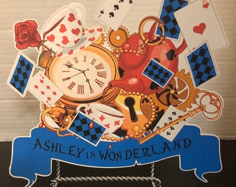 Alice in wonderland  sign for birthday decoration