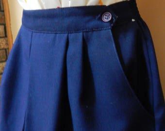 Valerie label skirt, 70s/80s navy blue pleated skirt