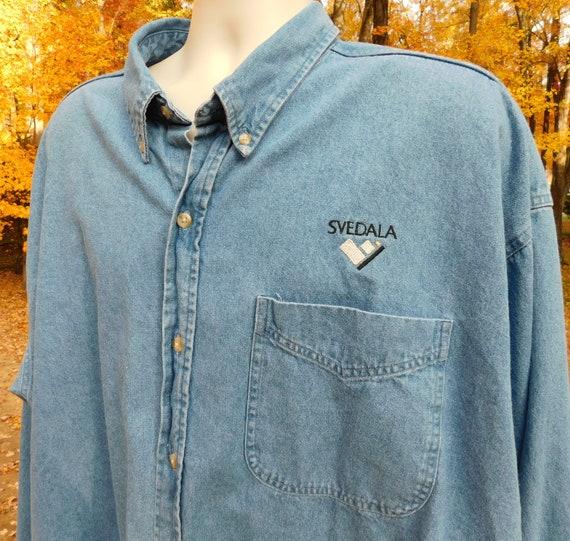 80s men's denim shirt, Svedala, drop sleeves, over