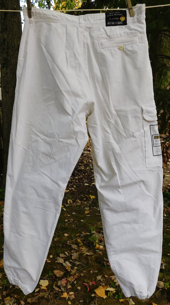 80s Bugle Boy white cargo pants, Ocean League Equi