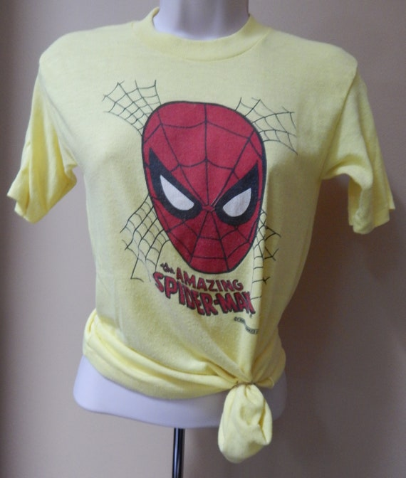 70s Spiderman shirt, boys pajama top, yellow Spide