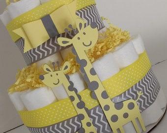 Giraffe Diaper Cake - Two Tier - Yellow Diaper Cake - Mommy and Me - Shower Diaper Cake - Centerpiece - Newborn - Shower Decoration - Baby