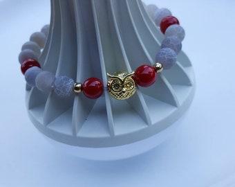 Owls Love Owls Red Charms Teens Women Bracelet