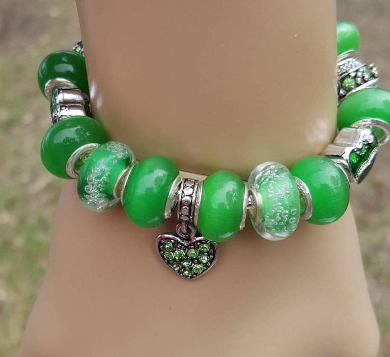 Green Hearts European Style Women Teens Wrist Bling Charm Bracelet