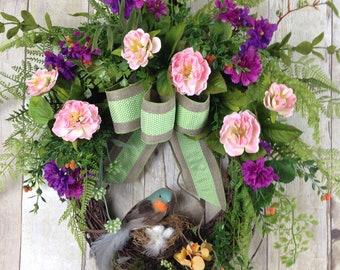Spring Wreaths, Summer Wreaths, Front Door Wreaths, Pink Wreath, Purple Wreath, Outdoor Wreath with Bird and Nest, Wreaths for Door,