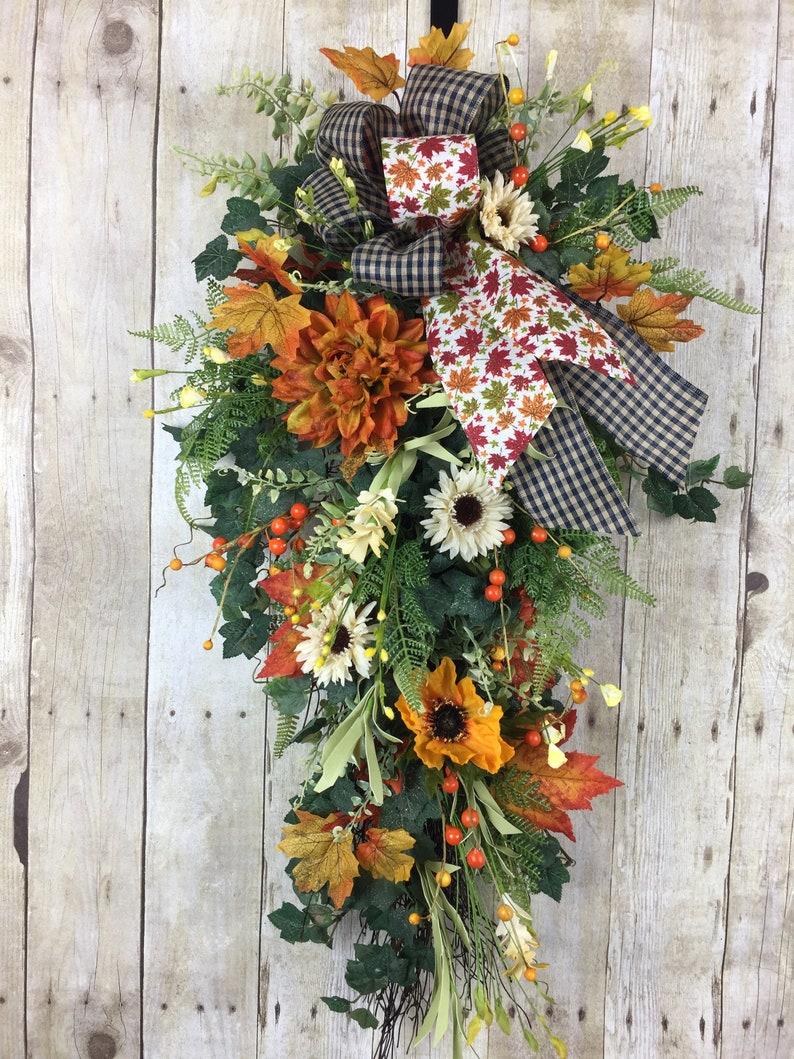 Fall Wreaths for Front Door Fall Door Swag Outdoor Wreath Swag Autumn Wreath, Sunflower Wreath Swag Sunflower Fall Door Decor