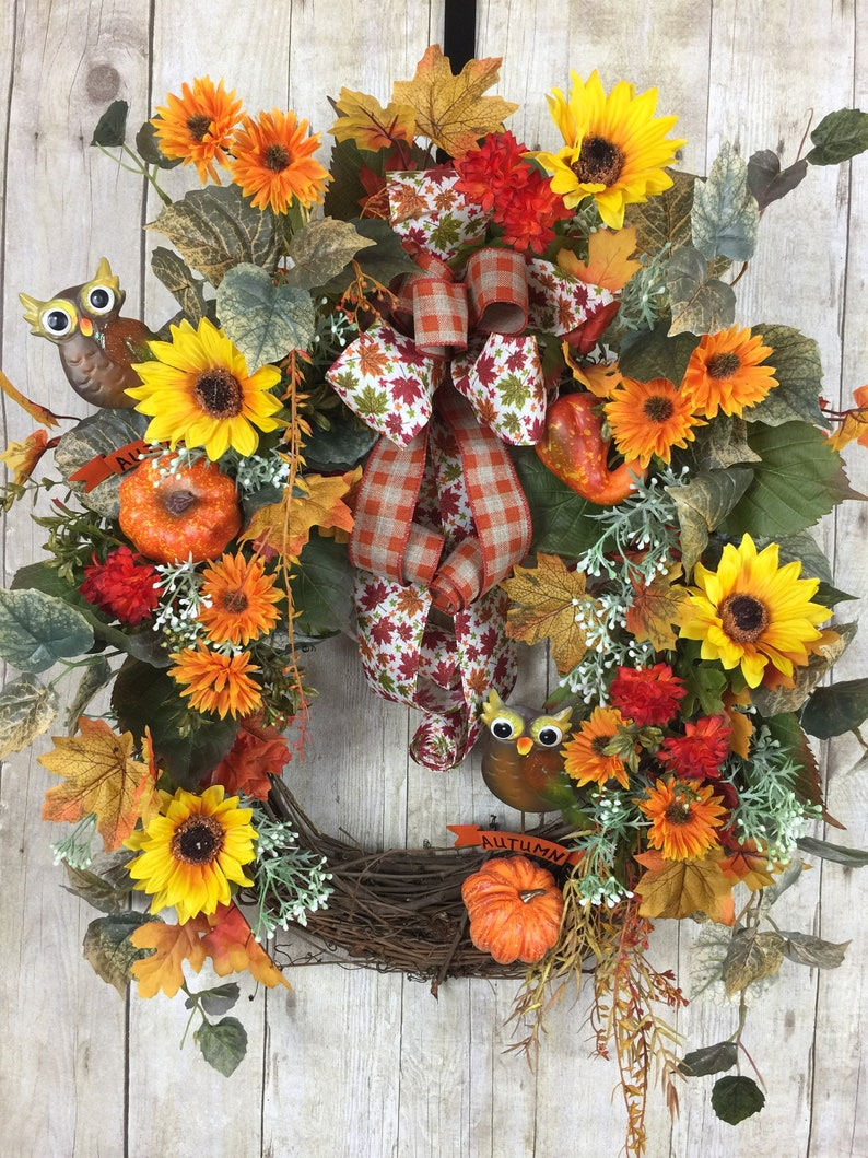 Fall Wreaths For Front Door Outdoor Fall Wreaths For Autumn Etsy