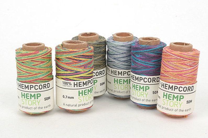 0 7mm Mixed Hemp cord (Waxed Twine Color) High Quality Hemp Cord, Diameter  0 7mm- Length 50m(54 6 yd) -MLT-852
